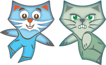 pavage chats joyeux et grincheux