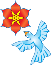 pavage fleurs et oiseaux