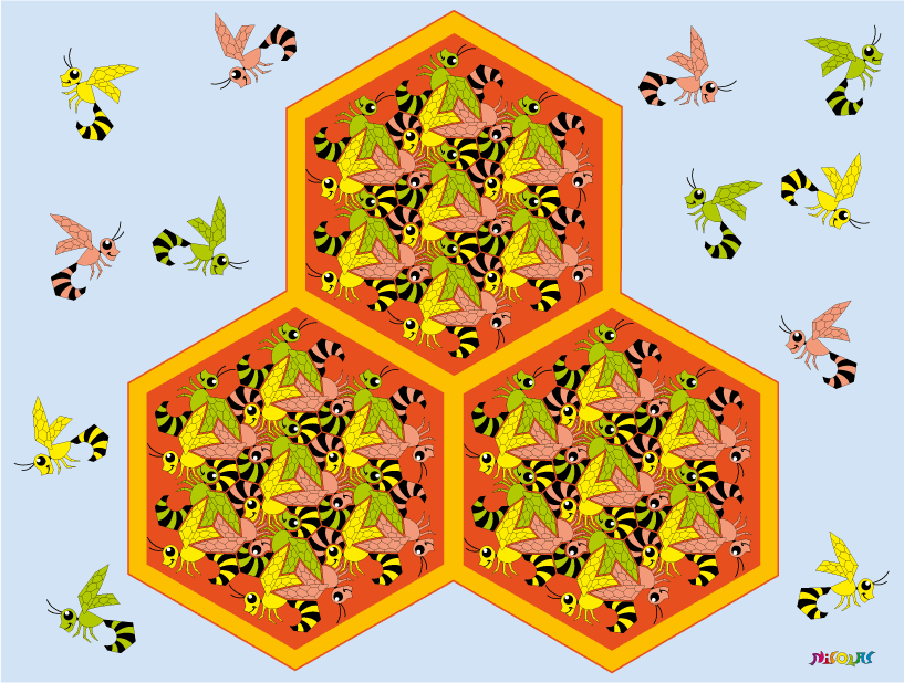 bees & honeycombs tessellation