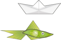 paper boat and fish tilings